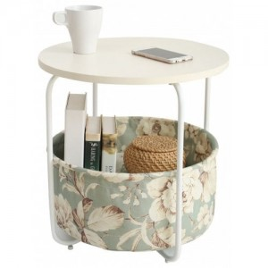 Round Wooden Side Table   2 Tiers Wi...
