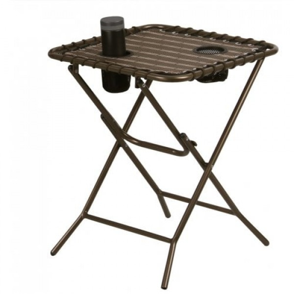 (FOLD SIDE TABLE) Finether Folding Side Table withMesh Drink Holders for Patio, Garden, Picnics, Beach, Camping and Home, Bronze