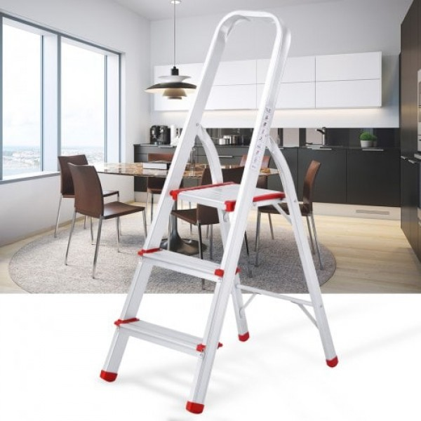 (FOLD STEP LADDER 3) Finether Portable Folding Aluminum 3-Step Ladder with Standing Platform, Lightweight Convenient Space-Saving for Household Office Use, EN131 Certified, 330 lbs Capacity
