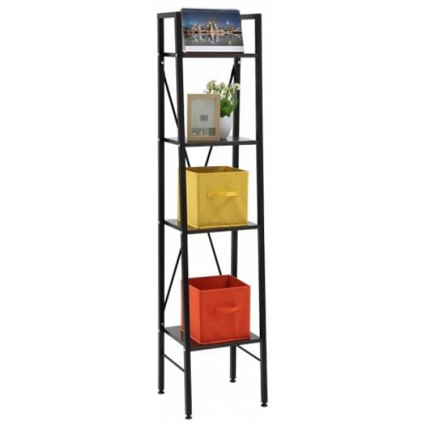 """(LADDER BOOKCASE BLACK SMALL) LANGRIA 4-Tier Shelves Ladder Bookcase Storage and Display Standing Shelving Unit, 13.4"""" x 11.8"""" x 58.3"""", Dark Walnut"""