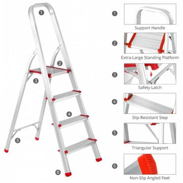 (FOLD STEP LADDER 4) Finether Portable Folding Aluminum 4-Step Ladder with Standing Platform, Lightweight Convenient Space-Saving for Household Office Use, EN131 Certified, 330 lbs Capacity
