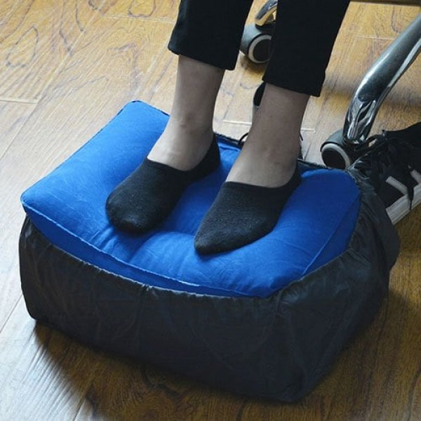 3 Adjustable Heights Inflatable Foot Rest Pillow Travel Airplane Cushion with Dustcover