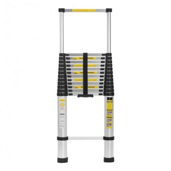 Finether 16.4 ft Aluminum Telescopic / Telescoping Loft Extension Multi-Purpose Ladder with Work Gloves Ladder Carrying Bag and Finger Protection Spacers