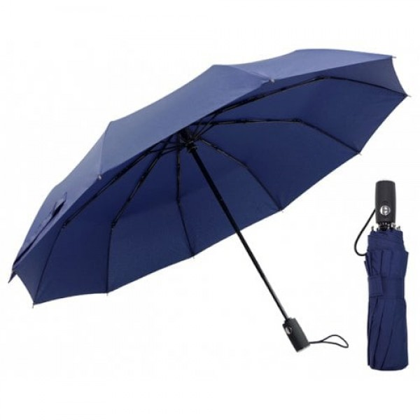 Automatic Tri-folded Windproof with 10 Branches Sunny / Rainy Commercial Umbrella